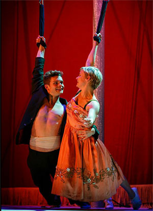 Andrew Durand and Patrycja Kujawska in Kneehigh's Tristan & Yseult. Photo by Steve Tanner.