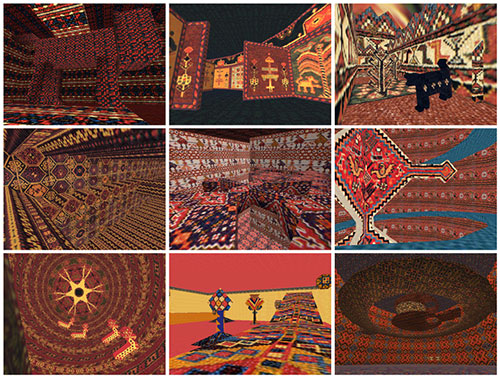 Mel Chin, Screenshots from the video game KNOWMAD, 1999. Interactive video installation, vintage rugs, fabric tent, projector, Windows computer 106 x 230 x 150 in. (tent). Courtesy of the artist
