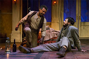 Shawn Hamilton and Ross Bautsch in the Stages Repertory Theatre production of The Whipping Man. Photo by Bruce Bennett.