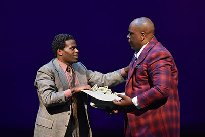 Cedric Neal and J. Bernard Calloway in Dallas Theater Center's production of Stagger Lee.  Photo by Karen Almond.
