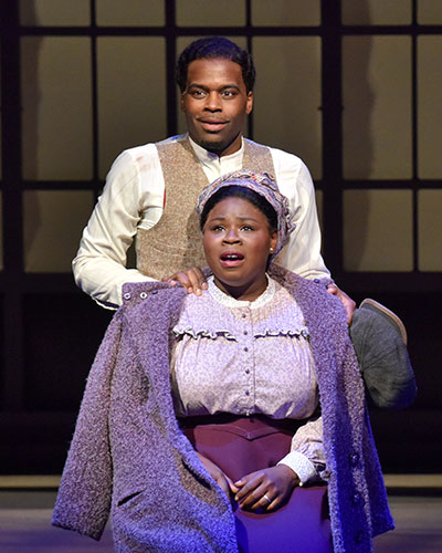 Cedric Neal and Tiffany Mann in Dallas Theater Center's production of Stagger Lee. Photo by Karen Almond.