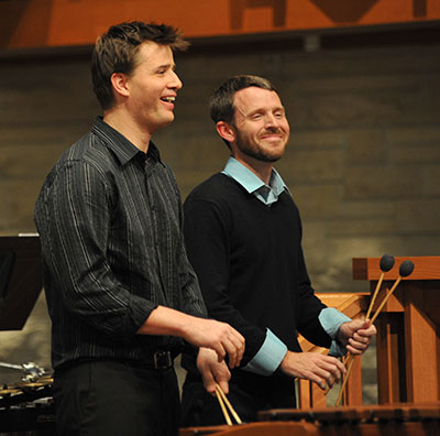 Matt McClung and Todd Meehan playing Jonathan Leshnoff's Double Percussion Concerto, which premiered April 20, 2013. Photo by Jeff Grass
