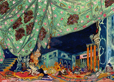 Leon Bakst, Variation of the original scene design for Schéhérazade, after 1910. Watercolor, metallic paint, and graphite on paper. Gift of Robert L. B. Tobin, TL1998.81.