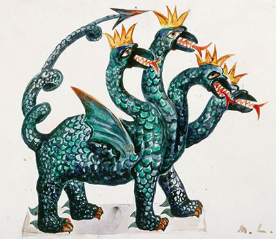 Mikhail Larionov, Costume design for Dragon in Les Contes Russes (Russian Stories), ca. 1917. Watercolor and graphite on paper. Gift of Robert L. B. Tobin, TL1998.262. © Artists Rights Society (ARS), New York/ ADAGP, Paris