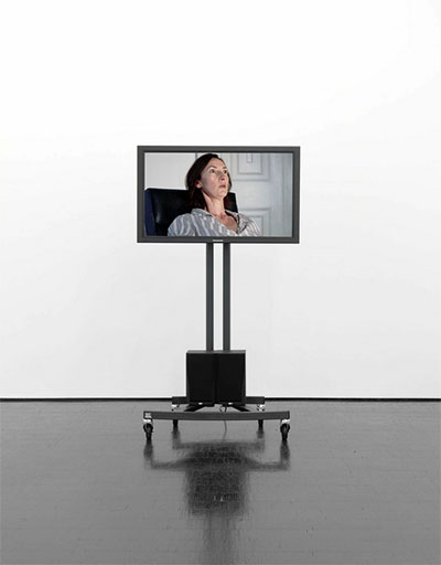 Melanie Gilligan, Self - capital (Still), 2009. Video, (episodes 1,2,3). 27 minutes. Installation view at Barbara Weiss, Berlin.