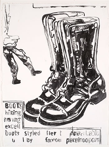 Andy Warhol, Untitled (Boots), 1986. Acrylic on paper. Promised gift of Lesley Wenger and Bob Anderson. © Andy Warhol Foundation for the Visual Arts/Artists Rights Society (ARS), New York.