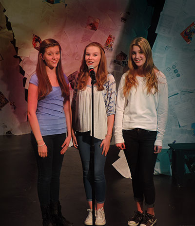 Allison Borish, Sierra Stead and Rhiannon Rasor in DCT's Teen Brain. Photo by Karen Almond.