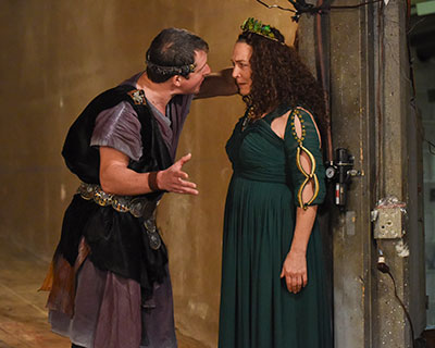 Chris Hury, Sally Nystuen Vahle in The Dallas Theater Center's production of Medea. Photo by Karen Almond.