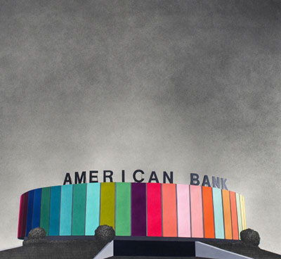 "Sara Frantz, American Bank, gouache and graphite on paper, 24"" x 26"", 2013. Photo courtesy of Sara Frantz."
