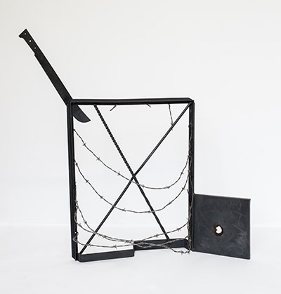Melvin Edwards, Ventana a Isla Negra, ca. 1973. Welded steel and barbed wire 44 3/8 x 48 x 20 inches (112.7 x 121.9 x 50.8 cm) Courtesy Alexander Gray Associates, New York; Stephen Friedman Gallery, London © 2015 Melvin Edwards / Artists Rights Society (ARS), New York Photo: Jeffrey Sturges.