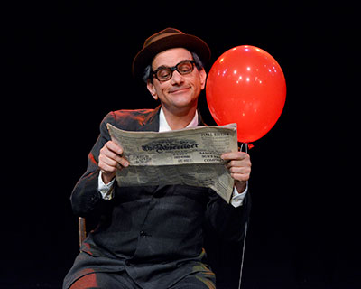 Karl Schaeffer in the DCT production of Barry Kornhauser's Balloonacy, April 10-19. Photo by Karen Almond.