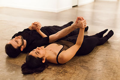 Connor Walsh and Laura Gutierrez in BARE at Nicole Longnecker Gallery. Photo by Lynne Lane.