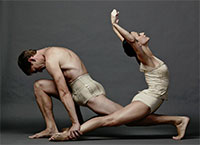 Leticia Oliveira and Carl Coomer in Texas Ballet Theater of Juri Kylian's Petite Mort. Photo by Steven Visneau.