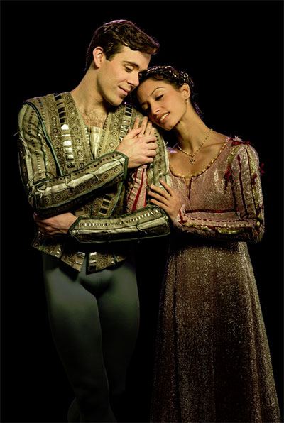 Connor Walsh and Karina Gonzalez in the Houston Ballet production of Stanton Welch's Romeo and Juliet. Photo by Amitava Sarkar.