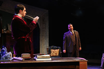 John Johnston as Sherlock Holmes and Andrew Love as Dr. Watson  in Classical Theatre's production of The Speckled Band: An Adventure of Sherlock Holmes. Photo by Pin Lim.