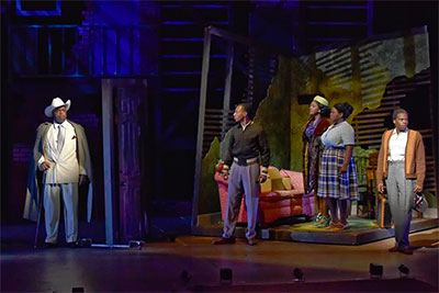 DTC's Stagger Lee - J. Bernard Calloway, Brandon Gill, Saycon Sengbloh, Tiffany Mann, Cedric Neal. Photo by Karen Almond.
