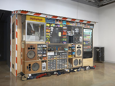 Tom Sachs, Bodega, 2014. Mixed media. 90 x 122 x 40 inches. Installation view, The Contemporary Austin – Jones Center, Austin, 2015. Courtesy Tom Sachs Studio. Photograph by Genevieve Hanson.