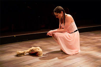 Emily Neves in Stupid F##king Bird at Stages Repertory Theatre. Photo by Bruce Bennett.
