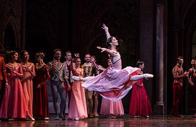 Karina Gonzalez and artists of Houston Ballet  in Stanton Welch's Romeo and Juliet. Photo by Amitava Sarkar.
