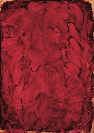 Kazuo Shiraga, Work I, 1954. Oil on paper, 43 x 30 1/2 in. (109 x 77.5 cm). Hyōgo Prefectural Museum of Art © 2015 Shiraga Hisao