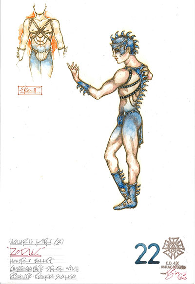 Costume design sketch by Eduardo Sicangco for Stanton Welch's Zodiac.