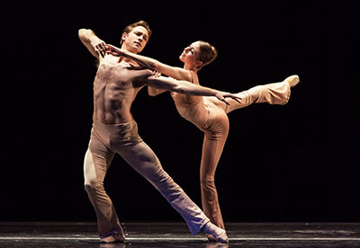 Houston Ballet Ian Casady and Jessica Collado in Stanton Welch's Sons de l'Ame. Photo by Amitava Sarkar.