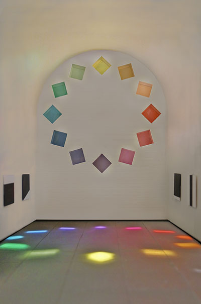 Ellsworth Kelly, Austin, 2015 (model; interior view). Artist-designed building with installation of colored glass windows, marble panels, and redwood totem, 60 ft. x 73 ft. x 26 ft. 4 in. Image courtesy the Blanton Museum of Art, The University of Texas at Austin.