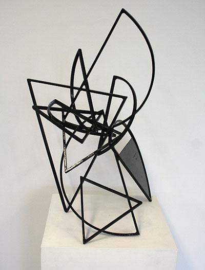 "Mac Whitney, Manzano, 2006, black painted steel, 27"" x 15"" x 18"", Gallery Sonja Roesch."