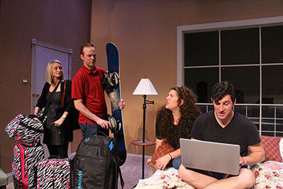Amy Michelle Mire, Kevin Crouch, Tasha Gorel, and Jason Duga in Bad Jews. Photo by Jordan Jaffe.