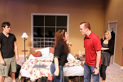 Jason Duga, Tasha Gorel, Kevin Crouch, and Amy Michele Mire in Bad Jews. Photo by Jordan Jaffe.