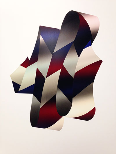 "JEFFREY DELL Floating Ribbon (Red & Blue) 2015 Screenprint, Edition of 4 34"" x 23"""