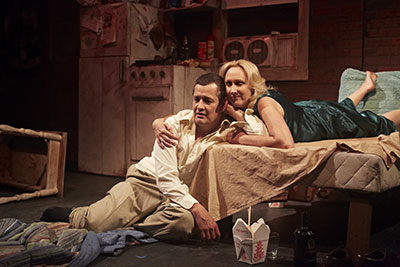 Luis Galindo and Kim Tobin-Lehl in Stark Naked Theatre Company's production of Stage Kiss by Sarah Ruhl. Photo by Gabriella Nissen.