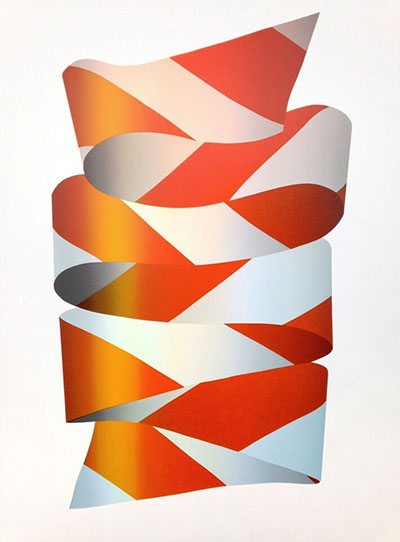 "JEFFREY DELL Bow I Orange ????? Screenprint 34"" x 23"" Bow I Orange"