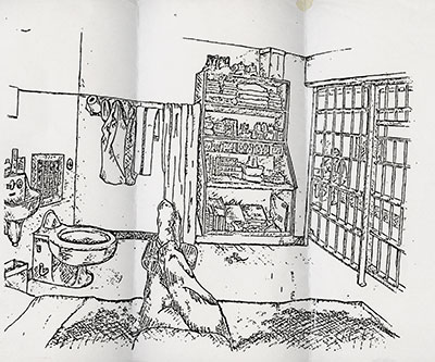 Sketch of a death row cell interior   From the series Black is the Day, Black is the Night     Inkjet print   11 x 14 inches   Courtesy of the artist and Yancey Richardson Gallery (New York, NY)