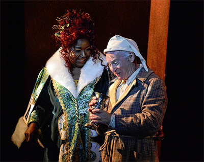 Jacqui Cross and Harvey Guion in the ZACH Theatre's production of A Christmas Carol, with costumes by Susan Branch Towne. Photo by Kirk Tuck.