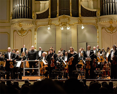 The audience in Hamburg, Germany, applauds for the Dallas Symphony Orchestra during the orchestra's seven-city 2013 tour. Photo Courtesy of The Dallas Symphony Orchestra.