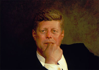 Jamie Wyeth, Portrait of John F. Kennedy, 1967. Oil on canvas 40.6 x 73.7 cm (16 x 29 in.) Partial gift of Phyllis and Jamie Wyeth and partial purchase from the Charles H. Bayley Picture and Painting Fund, Emily L. Ainsley Fund, and Robert Jordan Fund, 2014.996  *Museum of Fine Arts, Boston  *© Jamie Wyeth *Photography © 2014 Museum of Fine Arts, Boston