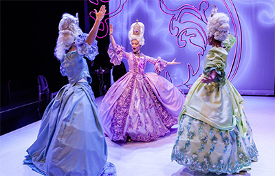 Emily Neves, Kelley Peters and Robin LeMon in Stages Repertory Theatre's production of Marie Antoinette, with costumes by Barry Doss. Photo by Amitava Sarkar.