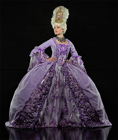 Emily Neves in Stages Repertory Theatre's production of Marie Antoinette, with costumes by Barry Doss. Photo by Amitava Sarkar.