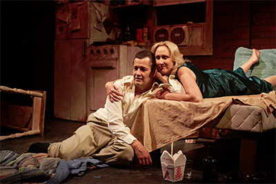 Luis Galindo and Kim Tobin-Lehl in Stark Naked Theatre Company's production of Stage Kiss with costumes by LA Cleveson. Photo by Gabriella Nissen.