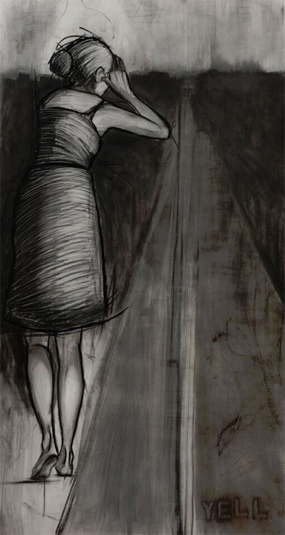 Erika Jaeggli, Yell, 2015. Charcoal on paper. Courtesy the artist.