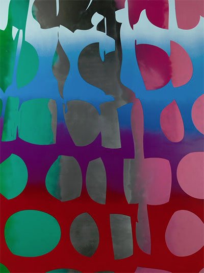 Zeke Williams, Giant Dots (Bomb Pop, silver, green, pink), 2015, acrylic on canvas, 96 x 72 inches.