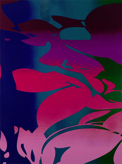 Zeke Williams, Large Floral (purple, pink, blue, green), 2015, acrylic on canvas, 96 x 72 inches