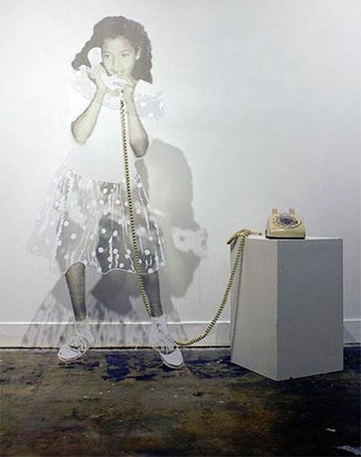 Abigail Lucien, Hello?, mylar, gesso, thread, telephone.