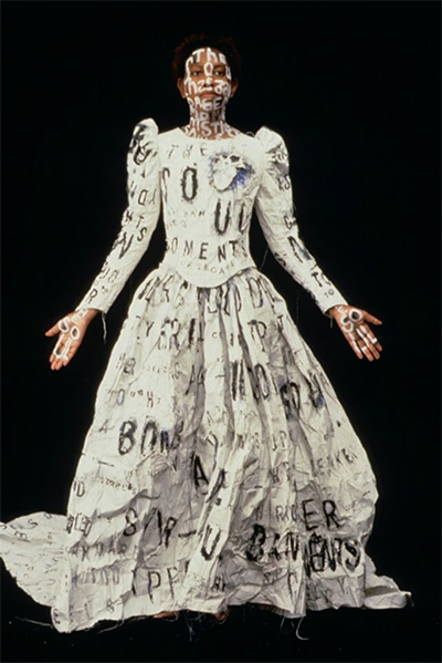 Lesley Dill, Dada Poem Wedding Dress, 1994. Made for Dada Ball, Webster Hall, New York, October 12, 1994