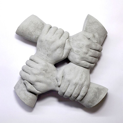 Alan & Michael Fleming, Platform (Banquine), 2015, Cast Cement, 13 x 13 x 4 in, Edition 1 of 3 +1AP. Courtesy Cydonia and the Artists.