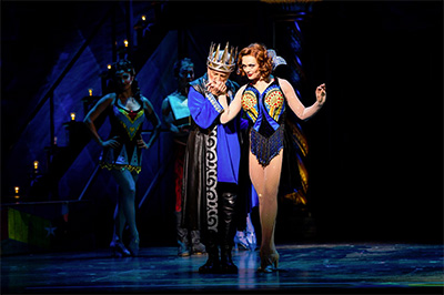 John Rubinstein as Charlemagne and Sabrina Harper as Fastrada in the National Touring Production of PIPPIN. Photo by Terry Shapiro.