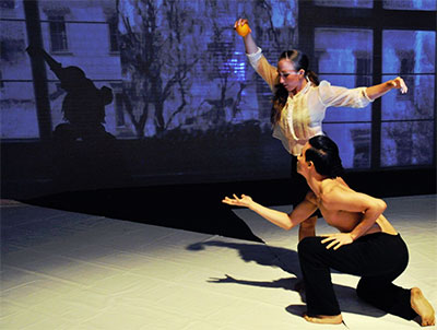ARCOS Dancers Katie Hopkins and Jimi Loc Nguyen in The Warriors: A Love Story, Sept. 11-12 at Rollins Theater. Photo Courtesy of ARCOS Dance.