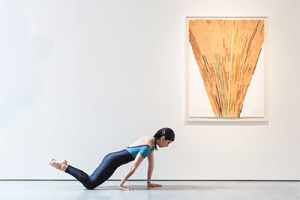 Laura Elena Gutierrez (1987); 64 x 61 1/2 in with  Ronny Quevedo, Ule-oop, 2012. Enamel and gold leaf on contact paper on paper, 38 x 50 in. (96.5 x 127 cm). Photo by Lynn Lane.