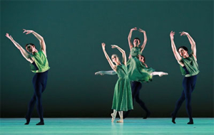Artists of Houston Ballet in Mark Morris' The Letter V.  Photo by Amitava Sarkar.